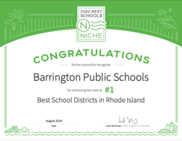 Barrington Public Schools Ranked #1 in RI