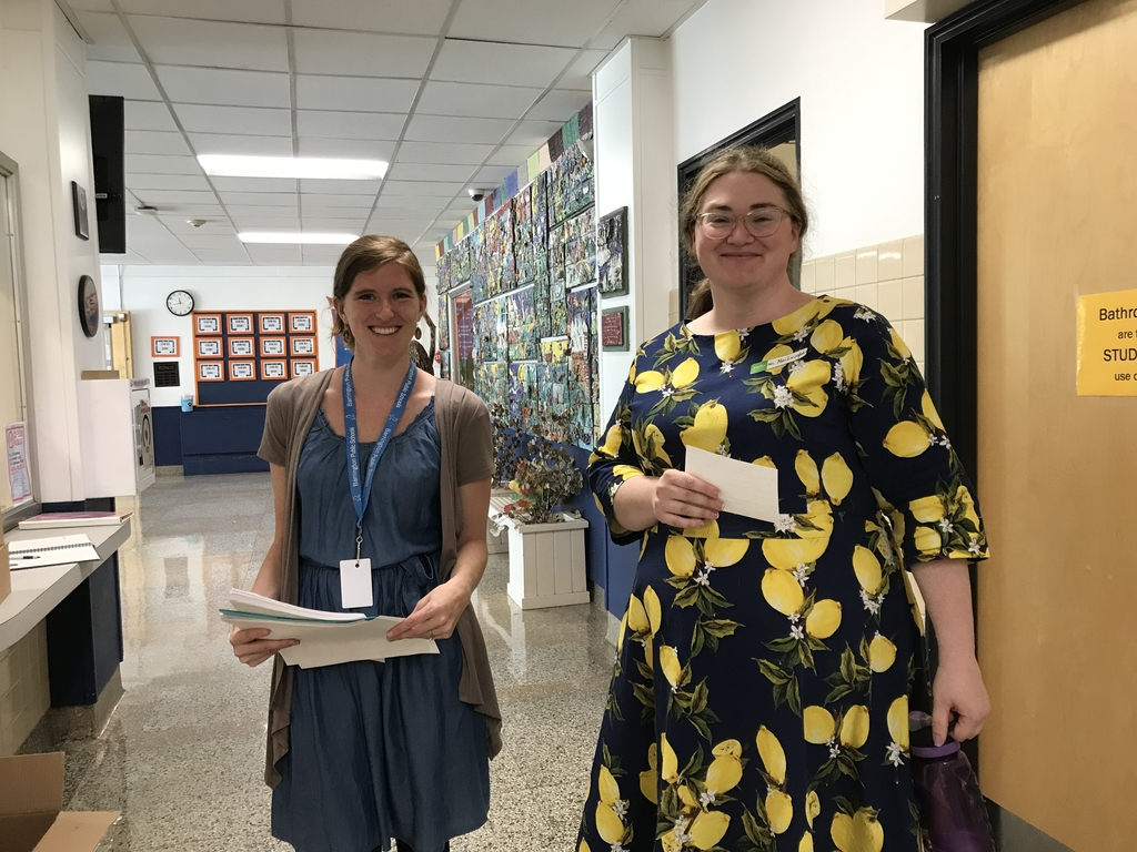 Ms MacLaughlin (right) library with Mrs Kulis -art